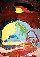 Menashe Kadishman b.1932 (Israeli) Sheep in landscape acrylic on paper