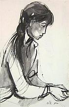Ruth Schloss b.1922-2013 (Israeli) Girl india ink and gouache on paper