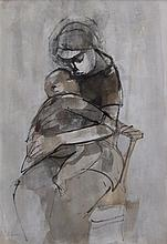 Ruth Schloss b.1922-2013 (Israeli) Mother and child india ink and watercolor on paper