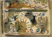 Yehezkel Streichman 1906-1993 (Israeli) Paris watercolor on paper