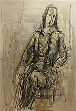Yehezkel Streichman 1906-1993 (Israeli) Portrait of woman watercolor and pencil on paper