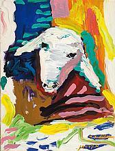 Menashe Kadishman b.1932 (Israeli) Sheep head, 1980 acrylic on canvas