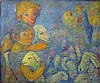 Arie Kaplun 1909-1995 (Israeli) Young shepherds with their flock oil on canvas, Arie Kaplun, Click for value