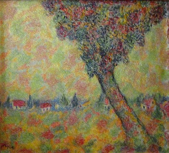Arie Kaplun 1909-1995 (Israeli) Kibbutz landscape, 1970's oil on canvas
