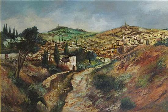 Heddy Kun b. 1932 (Hungarian, Israeli) Abu Ghosh oil on canvas