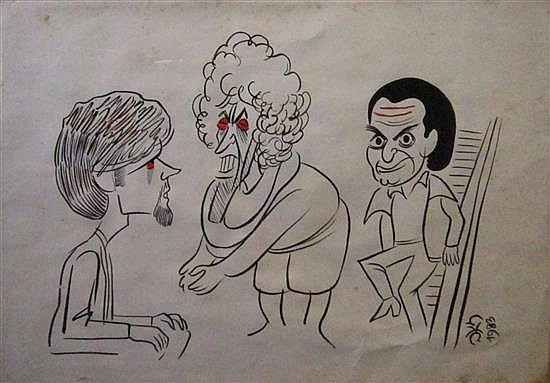 Yaacov Farkash (Ze'ev ) 1923-2002 (Israeli) Political caricature, 1983 felt tip pen on paper