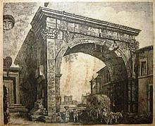 Luigi Rossini 1970-1857 (Italian) Veduta delli Arco di Gallieno, Roma 1821 engraving