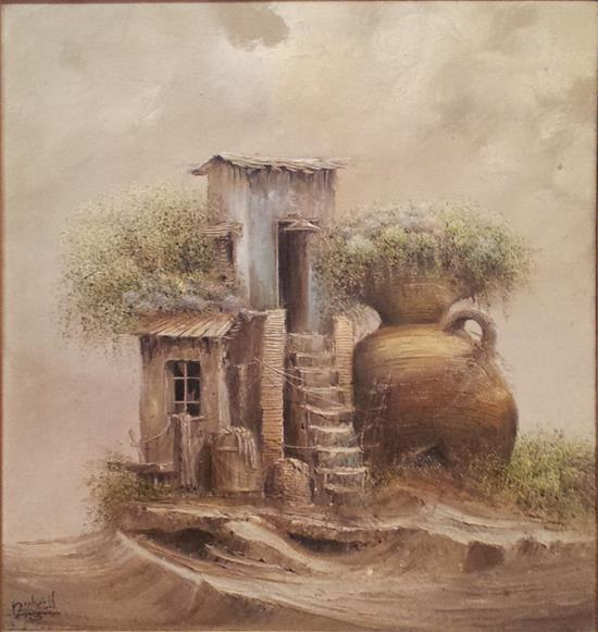 Jacov Nowogroder b. 1939 (Israeli) House and pot oil on canvas