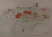 Avraham Naton 1906-1959 (Israeli) Jaffa, 1950 ink and watercolor on paper