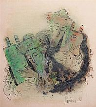 Reuven Rubin 1893-1974 (Israeli) Two rabbis, 1966 ink and pastel on paper