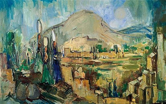 Joseph Kossonogi 1908-1981 (Israeli) Galilee scenery oil on canvas