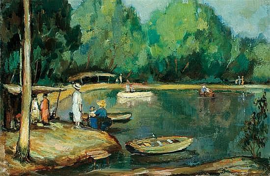 Avraham Naton 1906-1959 (Israeli) The Yarkon river, 1934 oil on panel