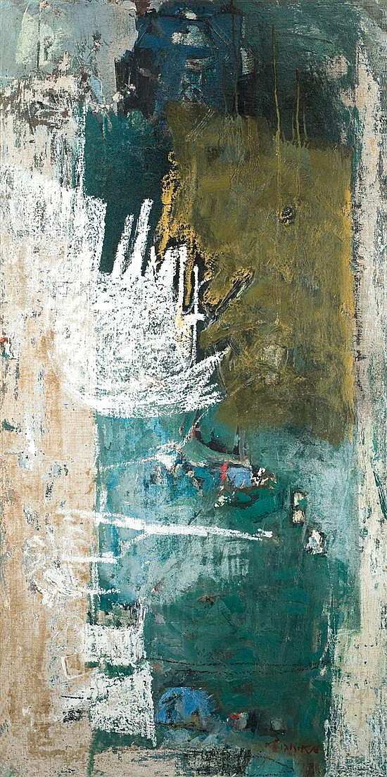 Zvi Mairovitch 1911-1974 (Israeli) Landscape, 1964-65 oil and oil pastel on canvas
