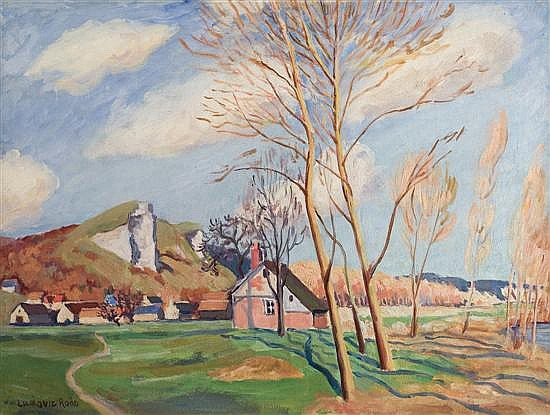 ** Ludovic Rodo Pissarro 1878-1952 (French) Paysage a La Roque, Printemps, c. 1930's oil on canvas