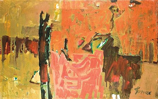 Zvi Mairovitch 1911-1974 (Israeli) Composition oil on canvas