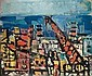 Yaacov Wexler 1912-1995 (Israeli) Figures overlooking a port landscape, 1979 oil on canvas, Yaakov Wechsler, Click for value