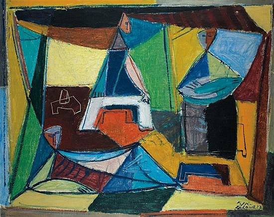 Aharon Kahana 1905-1967 (Israeli) Composition (Men in a tent), 1947 oil on canvas