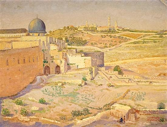 Yaacov Eisenberg 1897-1966 (Israeli) The Temple Mount and Mount of Olives oil on canvas mounted on cardboard