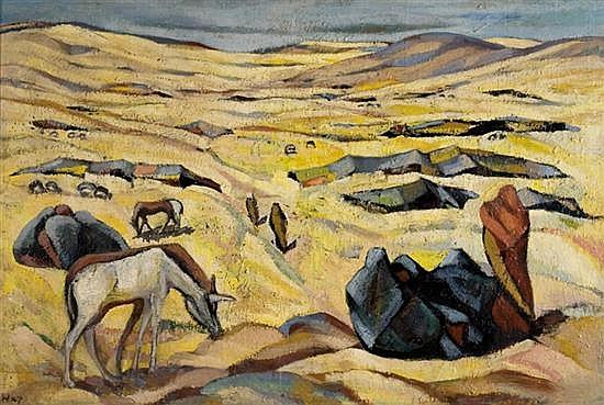 Kaete Ephraim Marcus 1892-1970 (Israeli) Bedouins near Beersheba, c. 1949 oil on canvas