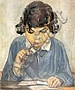 Kaete Ephraim Marcus 1892-1970 (Israeli) Chava signs mother's painting oil on canvas, Kaete Ephraim  Marcus, Click for value