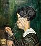 Kaete Ephraim Marcus 1892-1970 (Israeli) Chava sewing, 1927 oil on canvas, Kaete Ephraim  Marcus, Click for value