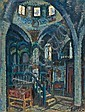 Arieh Allweil 1901-1967 (Israeli) Ha'ari Synagogue, Safed, 1940's oil on paper mounted on masonite, Arieh Allweil, Click for value