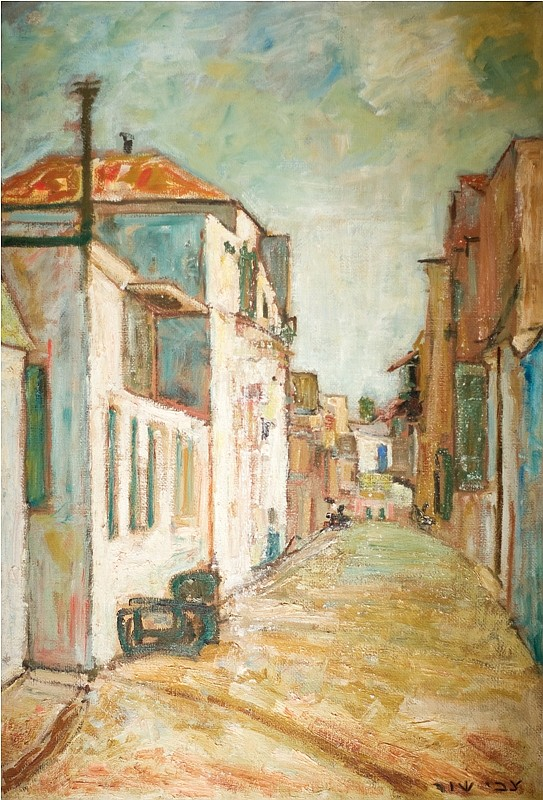 Zvi Shor 1898-1979 (Israeli) Petach Tikvah, 1940's oil on canvas