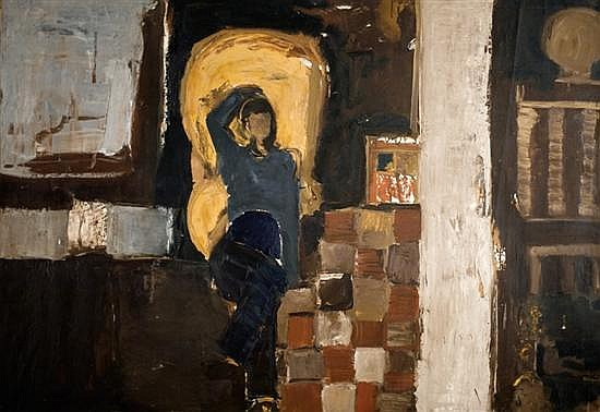 Liliane Klapisch b.1933 (Israeli) Interior with figure oil on canvas