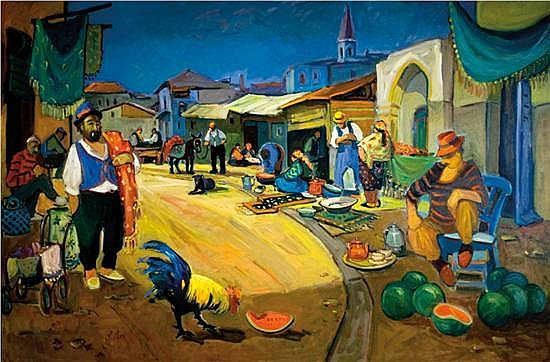 Avi Schwartz b.1938 (Israeli) Street scene oil on canvas