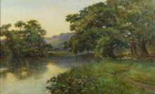 H.M. Clark, British, Sheep in a landscape, watercolour, 19 1/2 x 29 1/2 in. (50 x 75 cm)