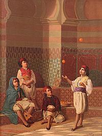Jan Baptist Huysmans, Belgian (1826-1906), Entre Garçonnets (Algiers)/ Between Boys (Algiers), oil on panel, 13 3/4 x 10 7/16 in. (3...