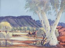 Claude Pannka, Australian (1928-1972), Ghost Gums, watercolour, 13 x 17 3/4 in. (33 x 45 cm)