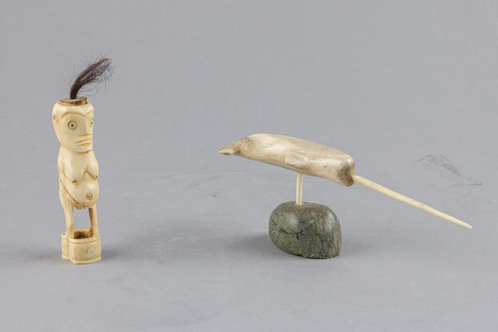 An Inuit Bone Carving Of A Narwhal