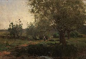 Aaron Allan Edson, RCA, OSA, SCA, Canadian (1846-1888), Figures in a Wooded Landscape, oil on canvas, 15 x 22 in. (38 x 56 cm)