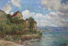 Herman van der Haar, Dutch (1867-1938), Château de Chillon, oil on canvas, 22 1/2 x 33 in. (57 x 83.8 cm)