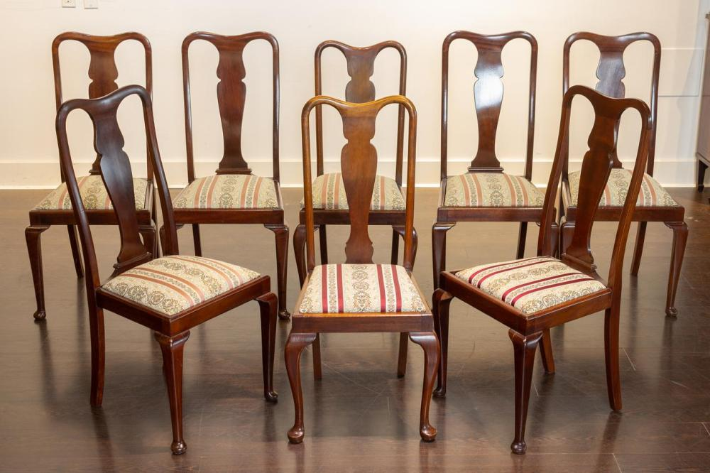 Lot A Set Of Eight Queen Anne Style, Queen Anne Mahogany Dining Chairs