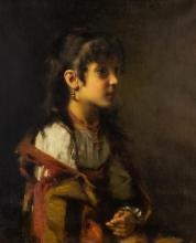 Alexej Alexejewitsch Harlamoff, Russian (1840-1925), Portrait of a Young Girl, oil on canvas, 24 x 19 3/4 in. (61 x 50.2 cm)