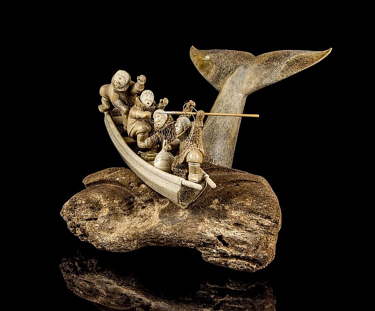 Kent Heindel Alaska A Whale Bone Carving Of A Whaling Part