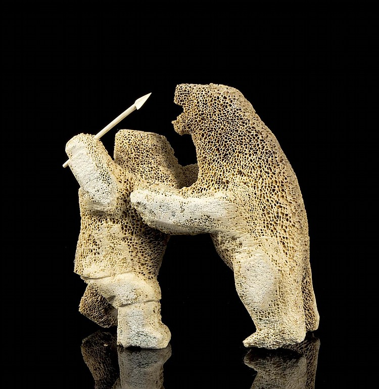 A Sakiasee Clyde River A Whale Bone Carving Of A Hunter B