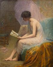 Louise Amelie Landre, French (1852-1934), Loge d'un Danseuse, oil on canvas, 29 x 23 3/4 in. (73.7 x 60.3 cm)