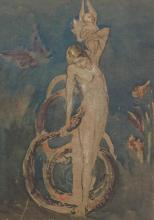 Attributed to Henry Fuseli, Swiss (1741-1825), Maiden Holding Snake and Angel, pencil and watercolour, 10 1/2 x 7 1/2 in. (26.7 x 19...
