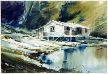 Marke K. Simmons, Canadian (1936 - ), Abandoned Pioneer at Center Bay, Gambier Island, watercolour, 14 x 20 in. (35.6 x 50.8 cm)