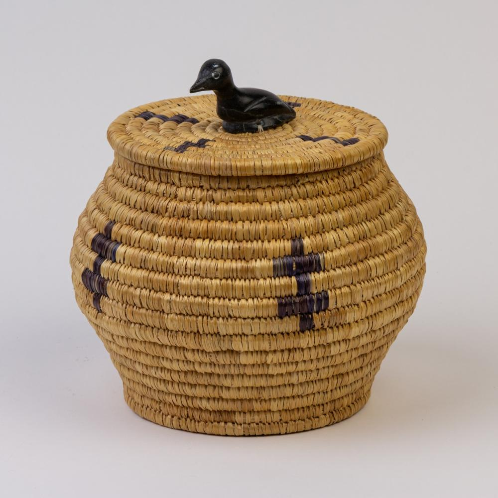 An Inuit lidded woven basket with simple cross form imbrication, 9 1/4 x 9 in. (23.4 x 22.8 cm)