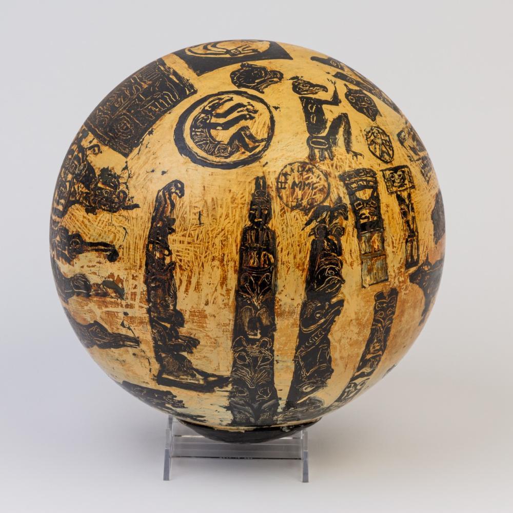 A Haida hand painted glass fishing float, Diameter: 9 1/2 in. (24.1 cm)