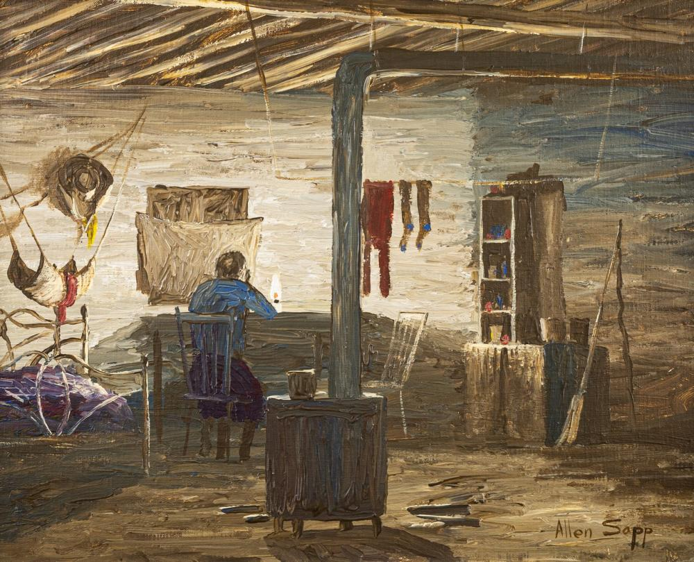 Allen Sapp, Canadian (1929-2015), Doing Beadwork in Neighbor's House, acrylic on canvas, 16 x 20 in. (40.6 x 50.8 cm)