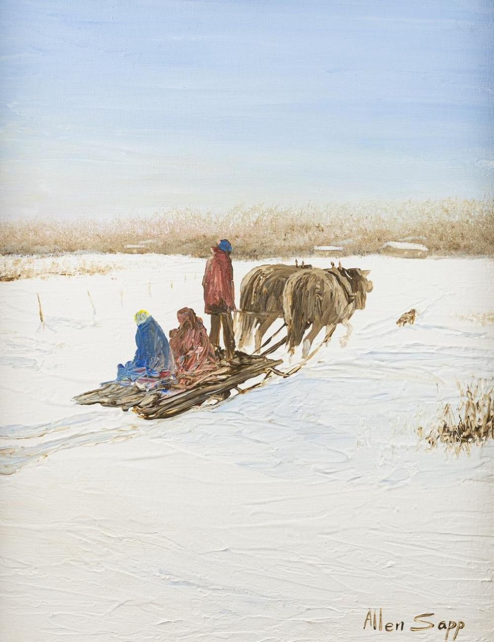 Allen Sapp, Canadian (1929-2015), Two Sisters Riding in Open Sleigh, acrylic on canvas, 20 x 16 in. (50.8 x 40.6 cm)