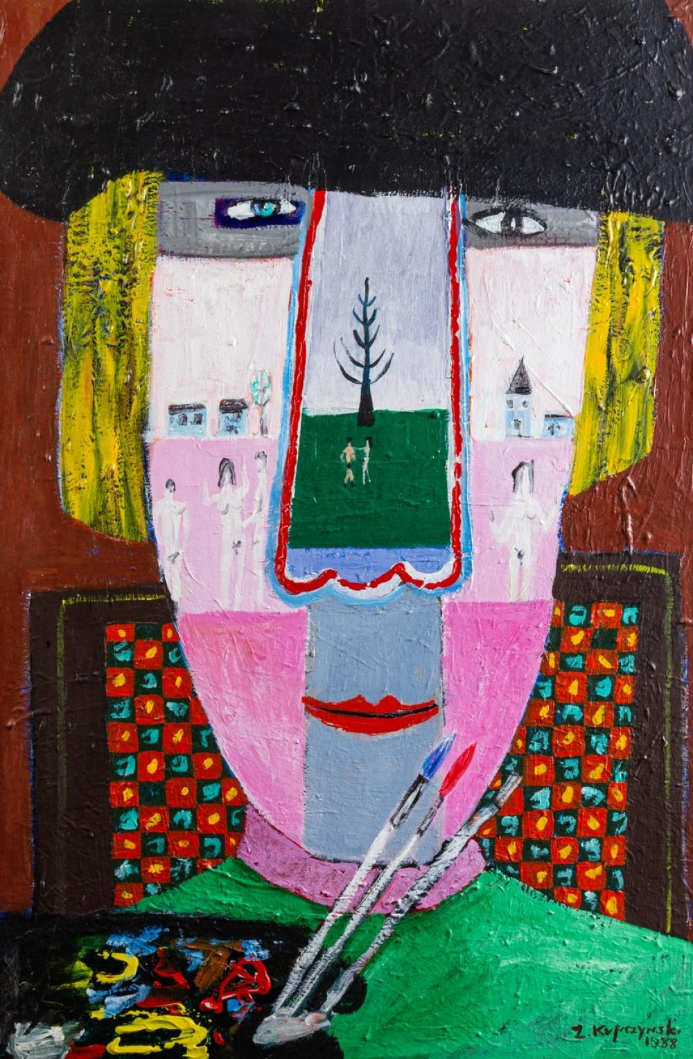 Zbigniew Kupczynski, Canadian (1928- ), The Painter, oil on canvas, 36 x 24 in. (91.4 x 61 cm)