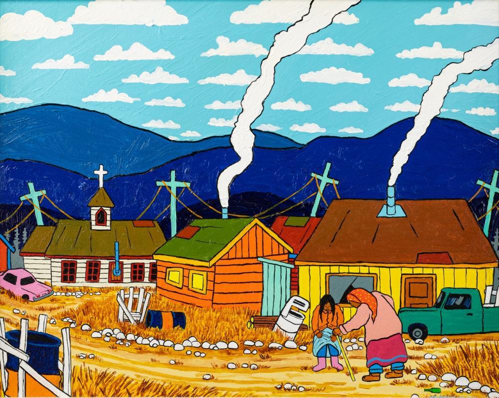 Jim Logan, Canadian (1955 - ), Look Grandma, New Boots, oil on canvas, 16 x 20 in. (40.6 x 50.8 cm)