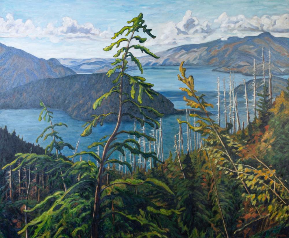 Robert Florian, Canadian (1964- ), Howe Sound Panorama (Cypress Park), oil on canvas, 52 3/4 x 63 1/2 in. (134 x161.3 cm) (unframed)