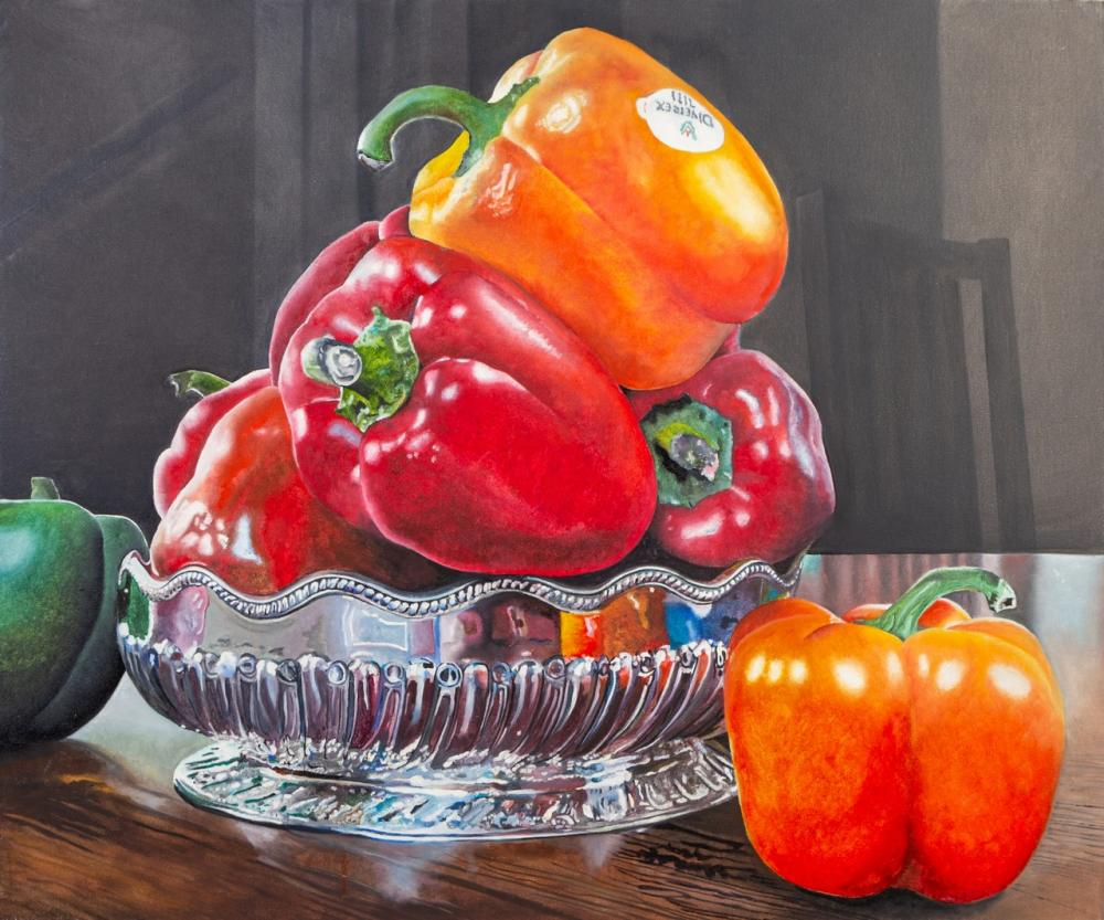Ann Goldberg, Canadian (20th c.), Peppers in a Silver Bowl, acrylic on canvas, 30 x 36 in. (76.2 x 91.4 cm)